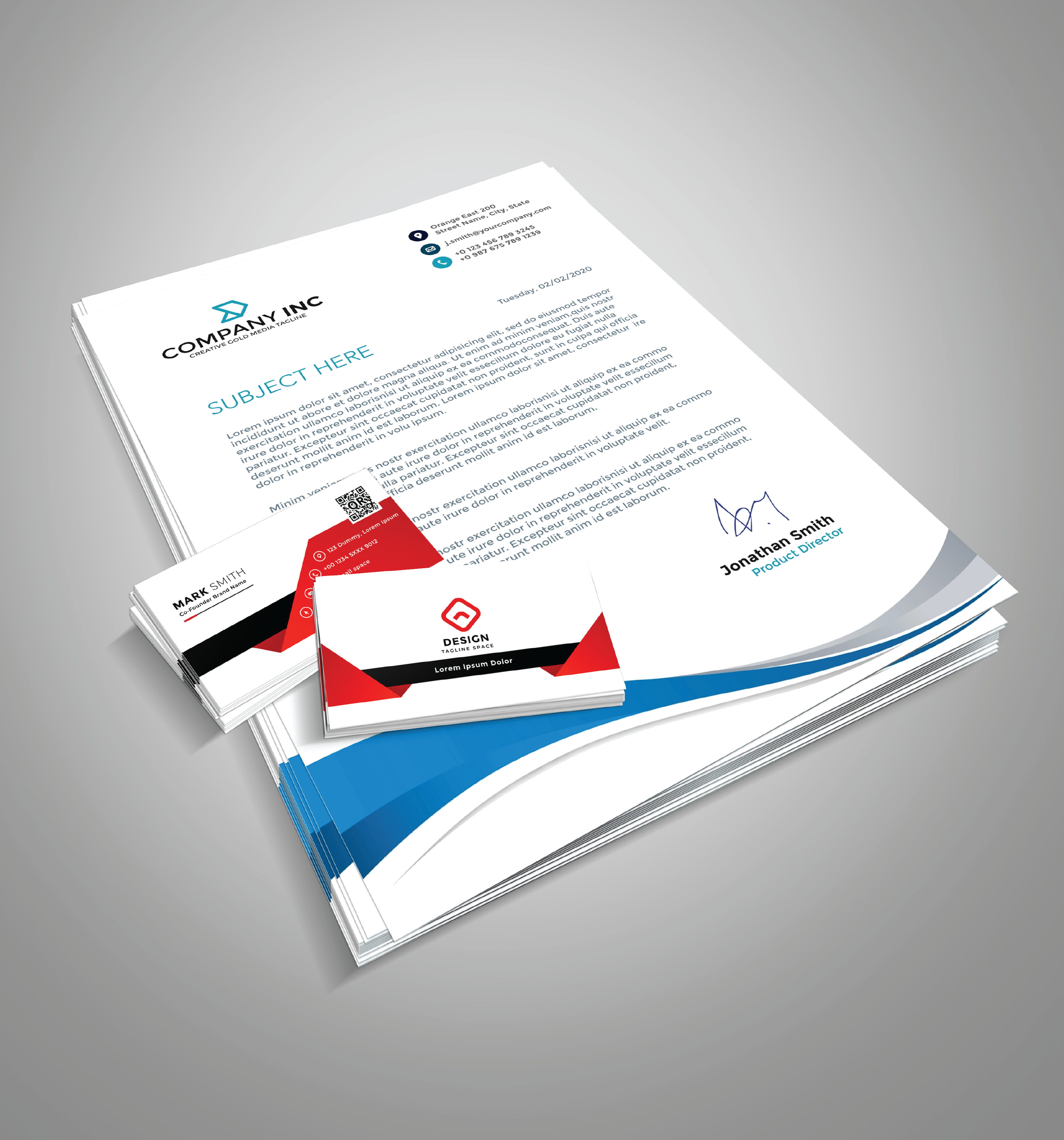 Mock Up Design Business Card With Letterhead